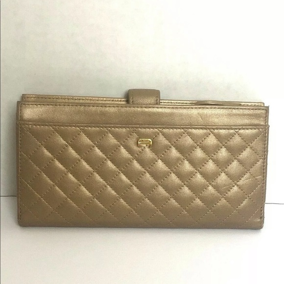 Etienne Aigner Handbags - Etienne Aigner Gold Quilted Womens Wallet Clutch